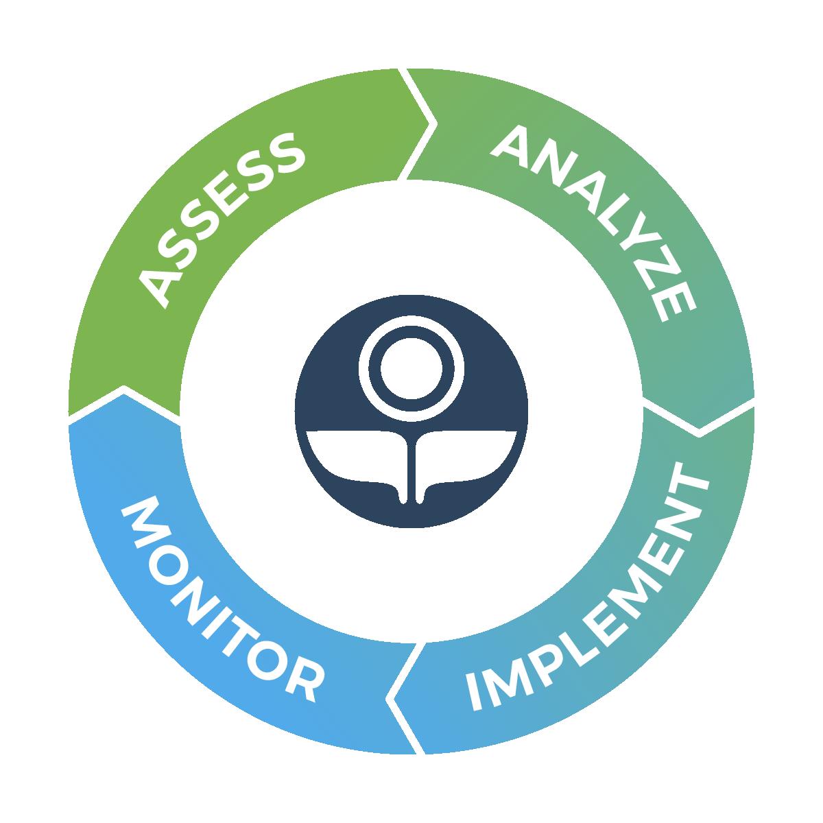 Vibrant Planet Assess-Analyze-Implement-Monitor Services Diagram
