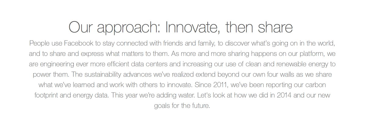 Facebook Sustainability Report