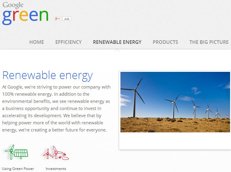 Google Green Renewable Energy