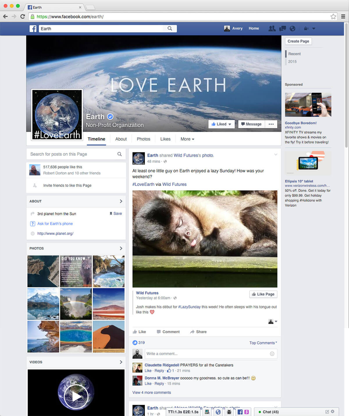 LoveEarth Facebook Page