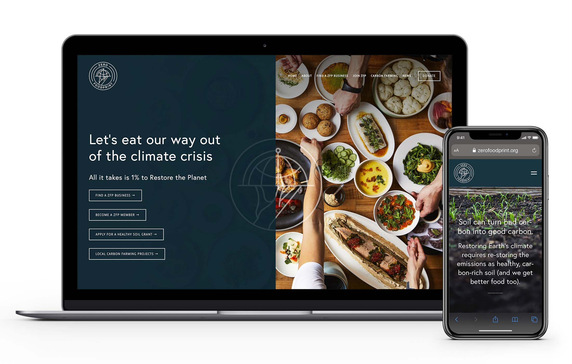 Zero Foodprint mobile responsive website mockup